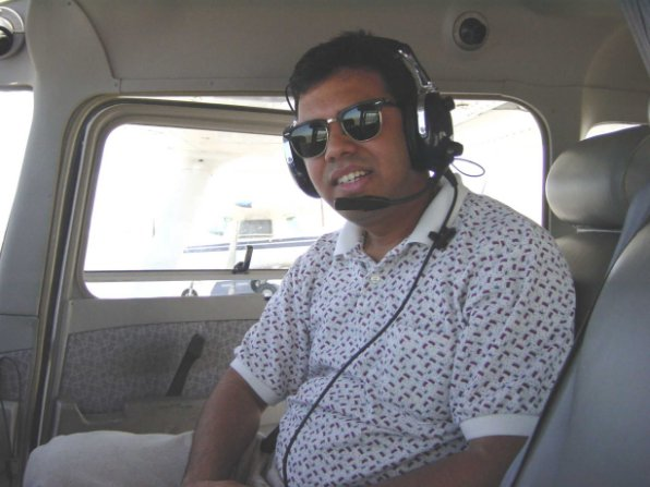My co-worker, Abhi, joins me for a local flight