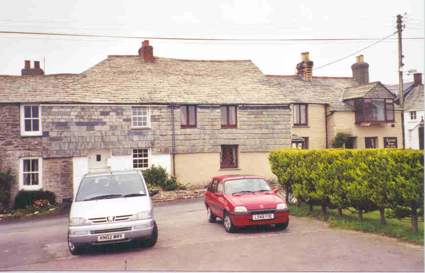 The Cornish Arms B&B, Pendoggett, Cornwall.  The minivan we rented in England and Wales is on the left.