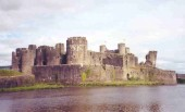 Caerphilly Castle, a Norman castle in southern Wales