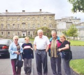 Cousin Frank Lane (in the middle), Dublin, Ireland.  The Irish Parliament building, where Frank worked, is in the background.  (He is now retired.)