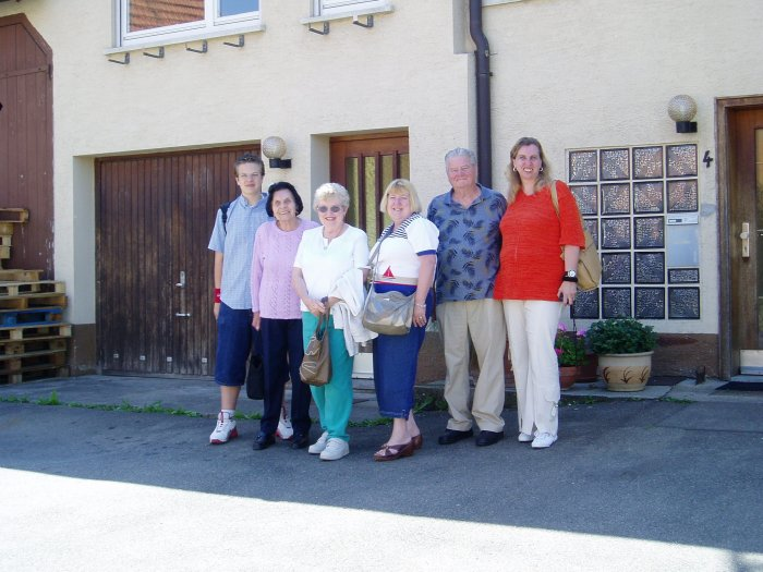 We visited Ofterdingen with some of our German cousins from Stuttgart.  From left to right, Marco (cousin), Ruth (Marco's grandmother), Mom, Carol (sister), Dad and Eva (Marco's mother).