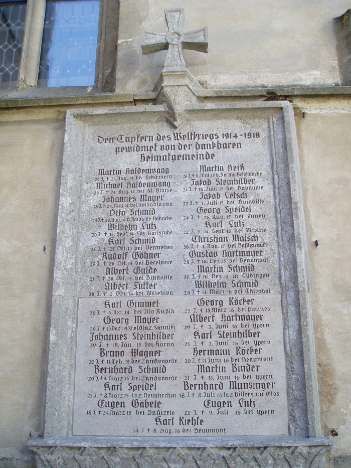 Closer view of one of the memorials listing those who died in World War I