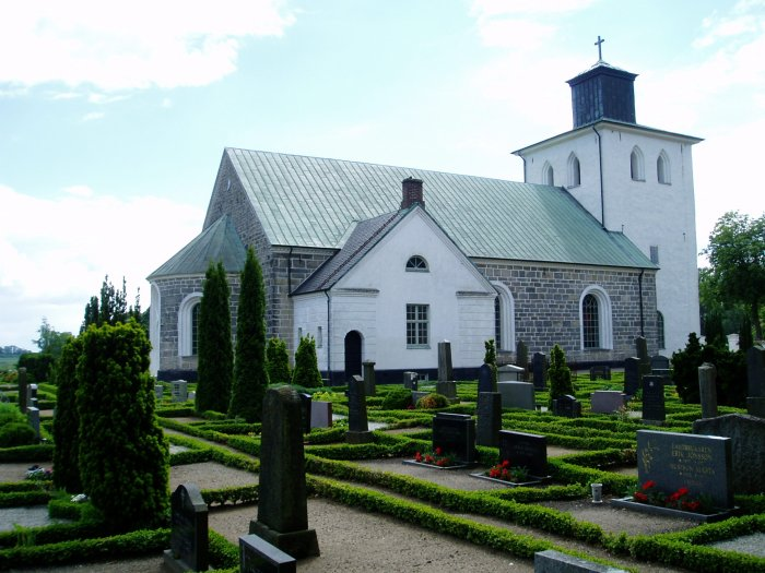 Valinge Lutheran Church, where my Swedish great-great-grandparents are buried