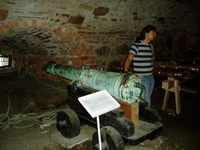 17th century cannon in the basement.  Vadstena Castle was built by King Gustav Vasa in 1545 as a fortress to protect Stockholm.