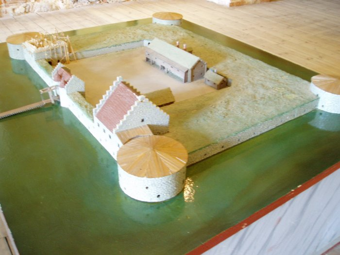 Fortress model.  Vadstena was reconstructed from a fortress into a castle, completed in 1620.  It was used as a royal palace until 1716, then became a granary.
