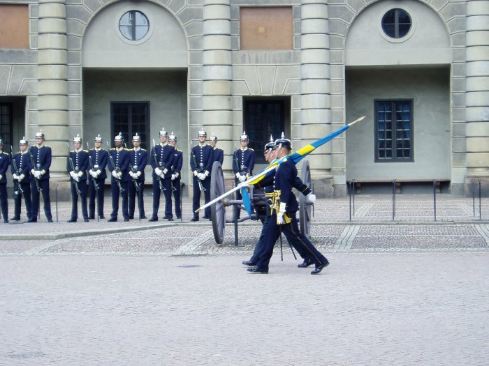 The Royal Guard, parading through the outer courtyard of the palace