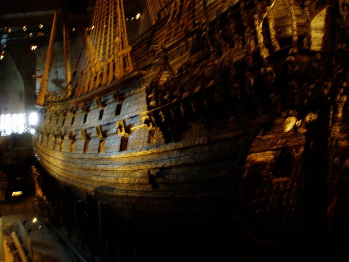 The Vasa, which sank on her maiden voyage in 1628 because she was top-heavy and unstable.  She was salvaged in 1961.