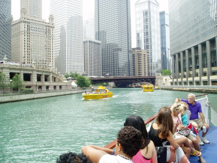 Along the Chicago River, on board a Wendella boat